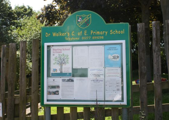 Noticeboard outside Dr Walkers Primary School