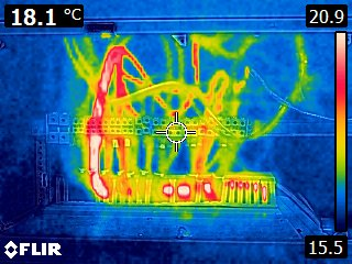 The Latymer School image of electrical installation seen through thermal imaging camera
