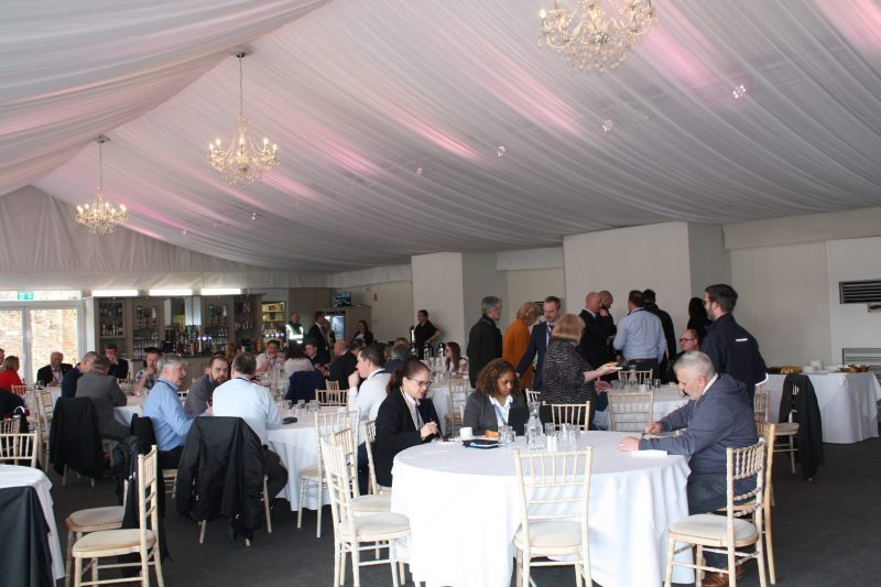 Picture of delegates at the DSA Electrical Safety Seminar 2020 networking over a buffet lunch at Braxted Park Estate